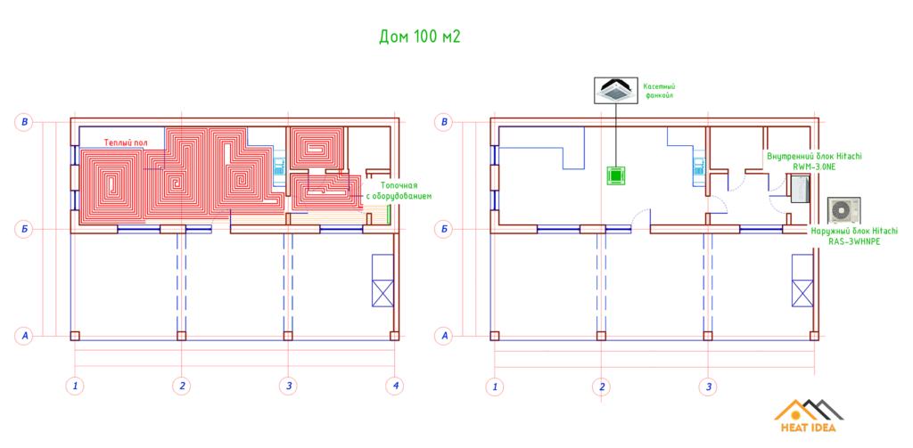Схема отопления дома тепловым насосом